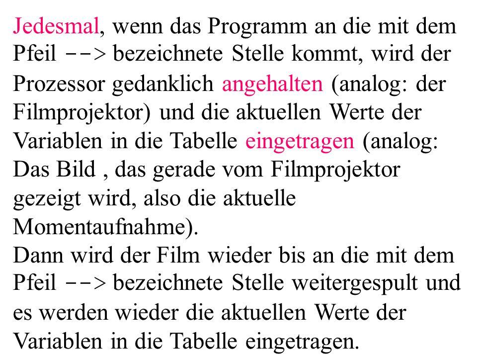 Jedesmal, wenn das Programm an die mit dem Pfeil --> bezeichnete Stelle kommt, wird der Prozessor gedanklich angehalten (analog: der Filmprojektor) un