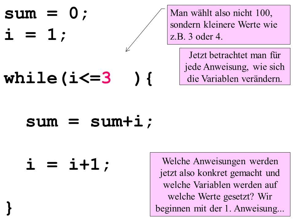 sum = 0; i = 1; while(i<=3 ){ sum = sum+i; i = i+1; } Man wählt also nicht 100, sondern kleinere Werte wie z.B. 3 oder 4. Jetzt betrachtet man für jed