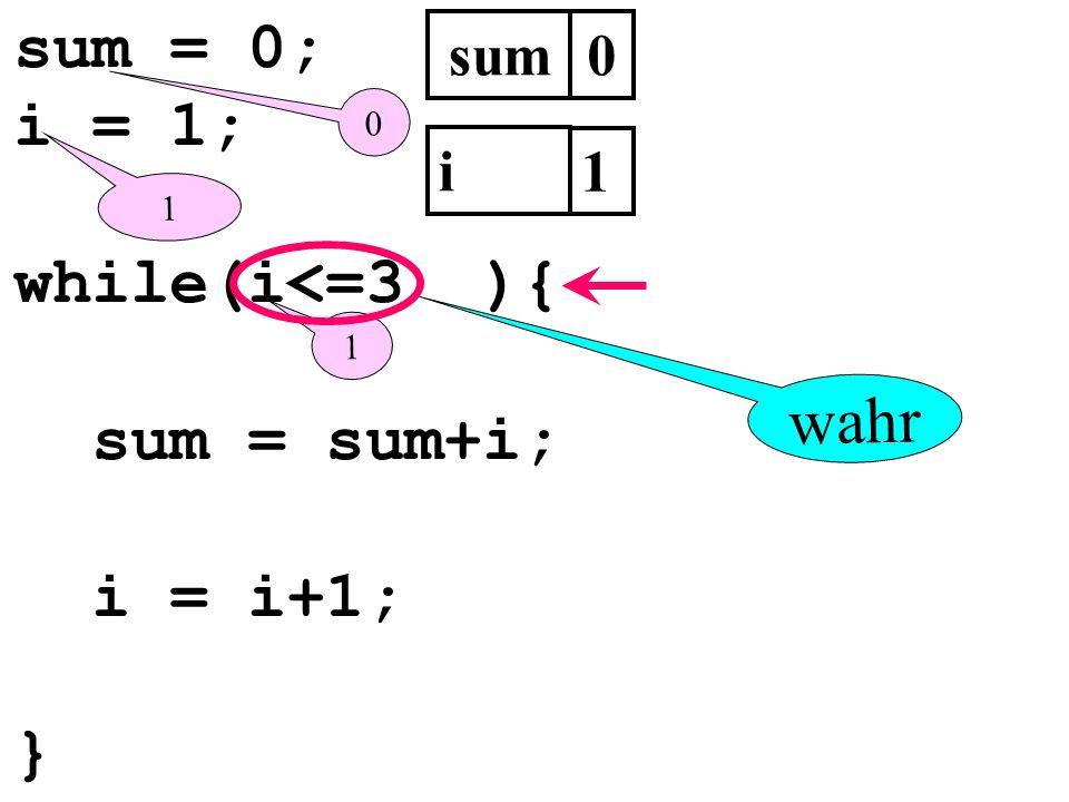 sum = 0; i = 1; while(i<=3 ){ sum = sum+i; i = i+1; } sum0 i 1 1 0 1 wahr