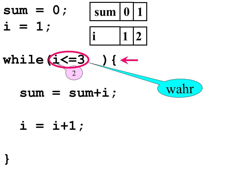 sum = 0; i = 1; while(i<=3 ){ sum = sum+i; i = i+1; } sum0 i 1 2 1 2 wahr