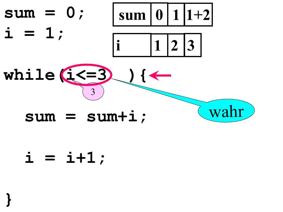 sum = 0; i = 1; while(i<=3 ){ sum = sum+i; i = i+1; } sum0 i 1 3 1 2 3 1+2 wahr