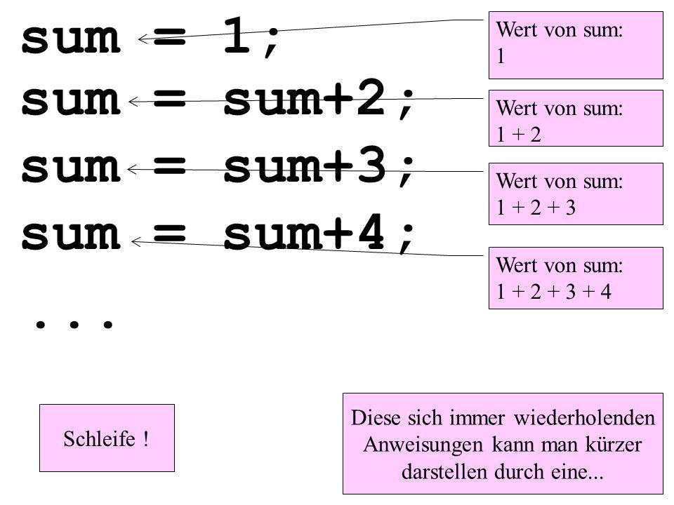 sum = 1; sum = sum+2; sum = sum+3; sum = sum+4;... Diese sich immer wiederholenden Anweisungen kann man kürzer darstellen durch eine... Schleife ! Wer