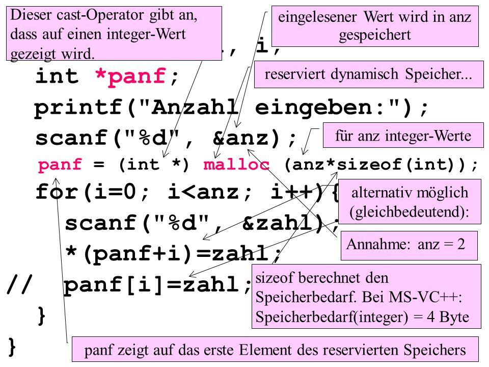 int main(){ int anz, zahl, i; int *panf; printf( Anzahl eingeben: ); scanf( %d , &anz); panf = (int *) malloc (anz*sizeof(int)); for(i=0; i<anz; i++){ scanf( %d , &zahl); *(panf+i)=zahl; // panf[i]=zahl; } eingelesener Wert wird in anz gespeichert für anz integer-Werte panf zeigt auf das erste Element des reservierten Speichers alternativ möglich (gleichbedeutend): reserviert dynamisch Speicher...