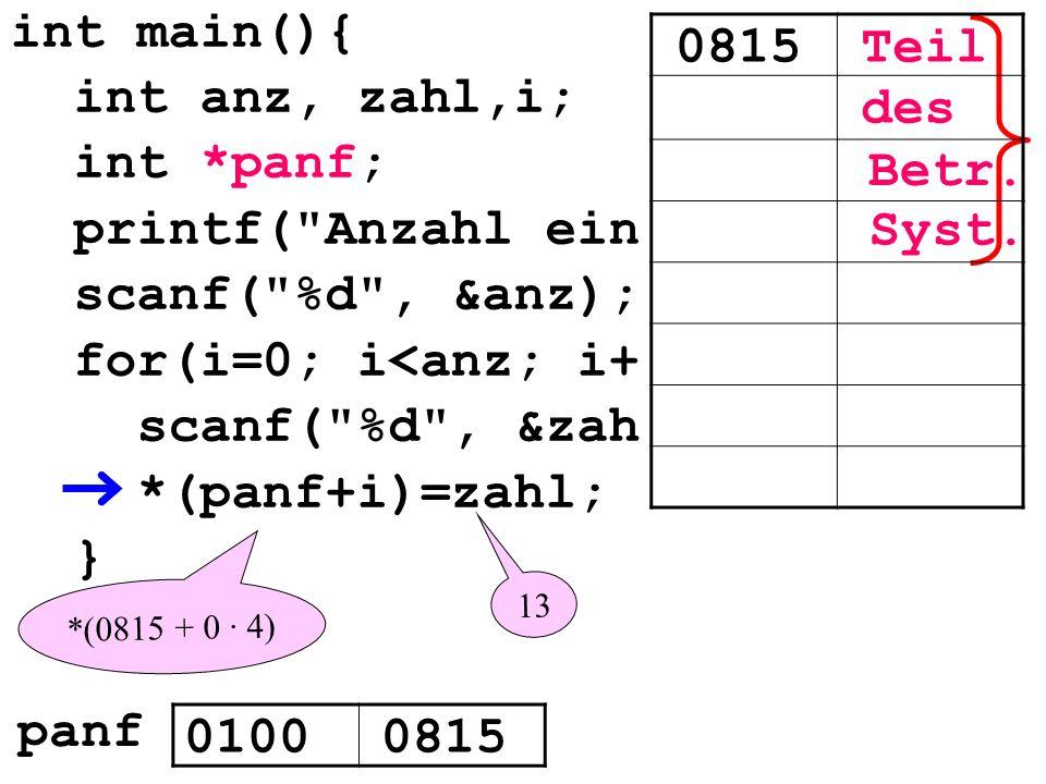 int main(){ int anz, zahl,i; int *panf; printf( Anzahl ein scanf( %d , &anz); for(i=0; i<anz; i+ scanf( %d , &zah *(panf+i)=zahl; } 0815Teil des Syst.