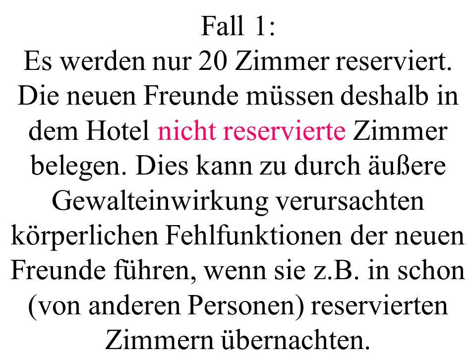 Fall 1: Es werden nur 20 Zimmer reserviert.