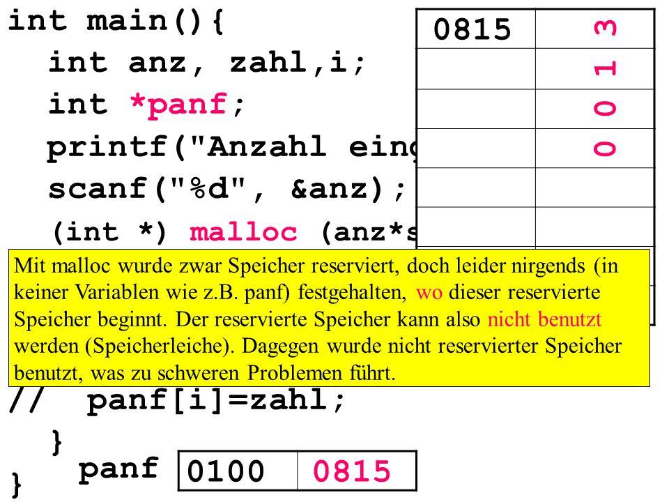 int main(){ int anz, zahl,i; int *panf; printf( Anzahl eingeben: ); scanf( %d , &anz); (int *) malloc (anz*sizeof(int)); for(i=0; i<anz; i++){ scanf( %d , &zahl); *(panf+i)=zahl; // panf[i]=zahl; } 01000815 panf 0815 0 0 1 3 Mit malloc wurde zwar Speicher reserviert, doch leider nirgends (in keiner Variablen wie z.B.