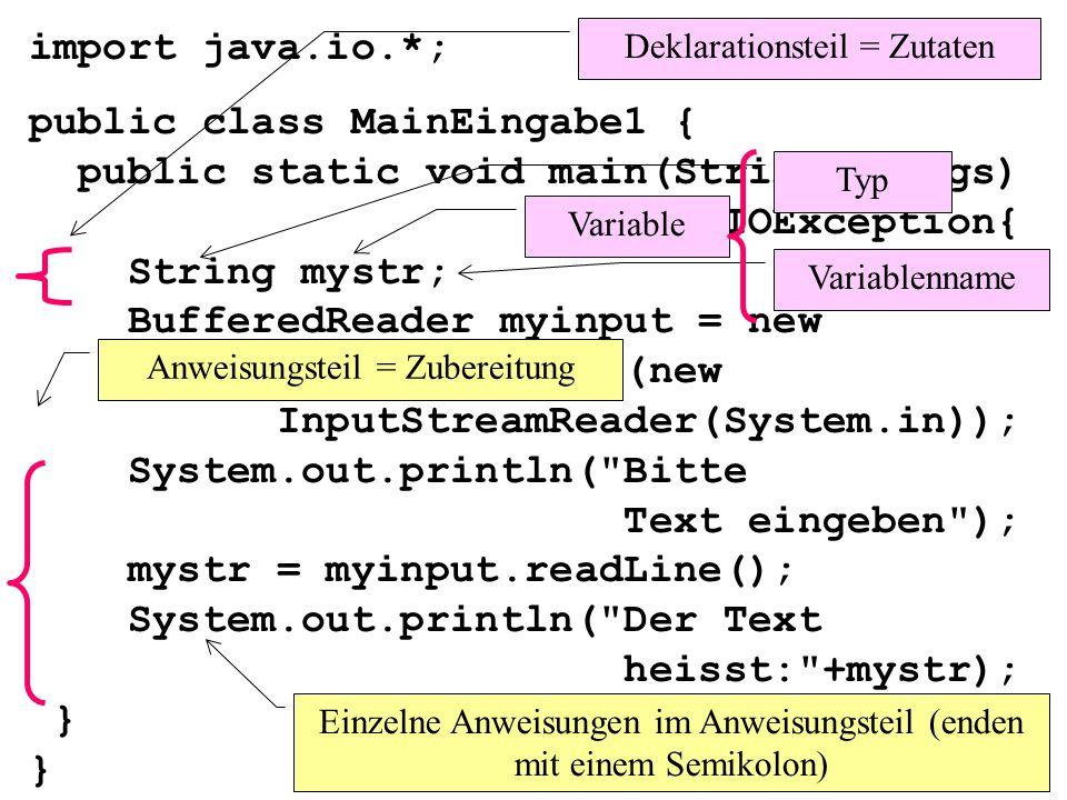 import java.io.*; public class MainEingabe1 { public static void main(String[] args) throws IOException{ String mystr; BufferedReader myinput = new BufferedReader(new InputStreamReader(System.in)); System.out.println( Bitte Text eingeben ); mystr = myinput.readLine(); System.out.println( Der Text heisst: +mystr); } } Deklarationsteil = Zutaten Typ Variablenname Variable Anweisungsteil = Zubereitung Einzelne Anweisungen im Anweisungsteil (enden mit einem Semikolon)
