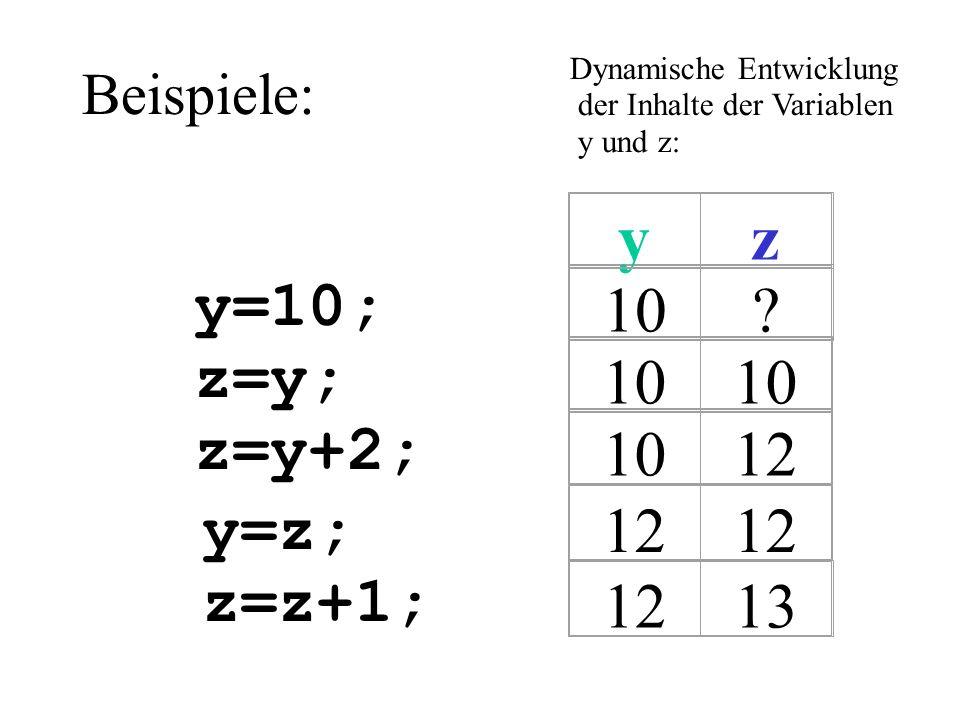 Beispiele: y=10; z=y; z=y+2; y=z; z=z+1; Dynamische Entwicklung der Inhalte der Variablen y und z: 10?yz 12 13