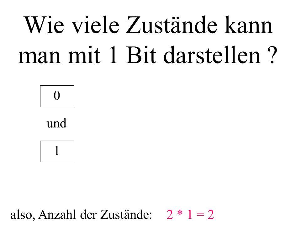 Wie viele Zustände kann man mit 1 Bit darstellen ? 1 0 und also, Anzahl der Zustände:2 * 1 = 2