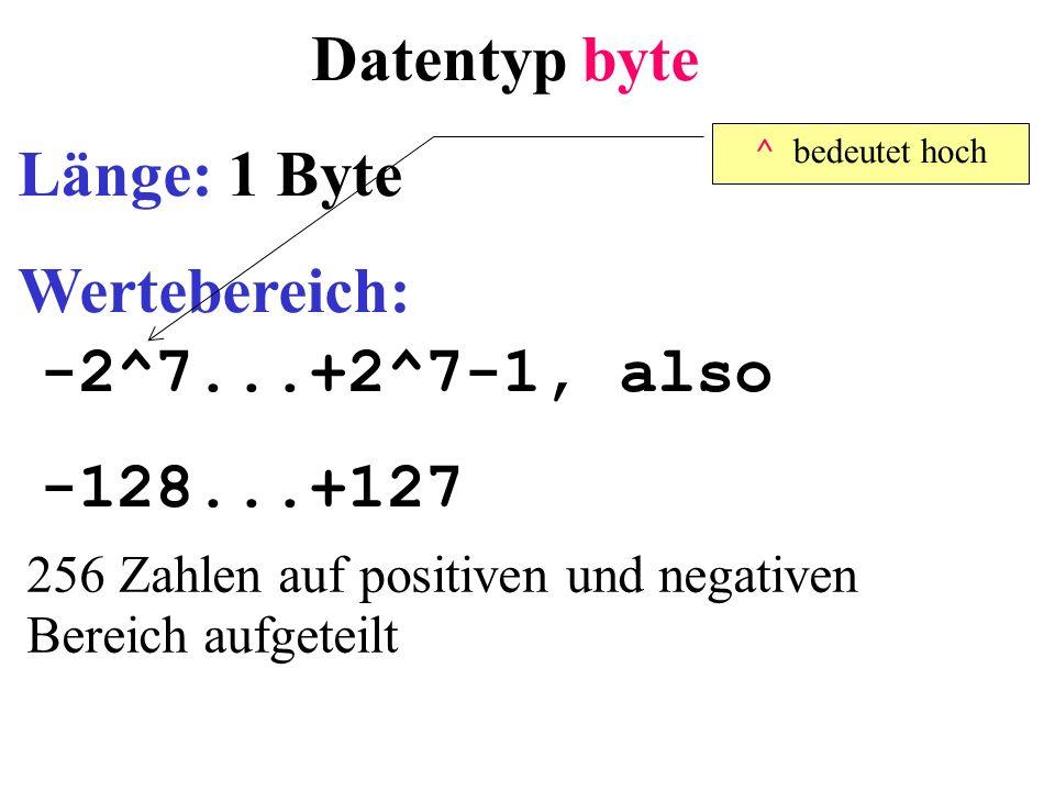 Datentyp byte Länge: 1 Byte Wertebereich: -2^7...+2^7-1, also -128...+127 256 Zahlen auf positiven und negativen Bereich aufgeteilt ^ bedeutet hoch