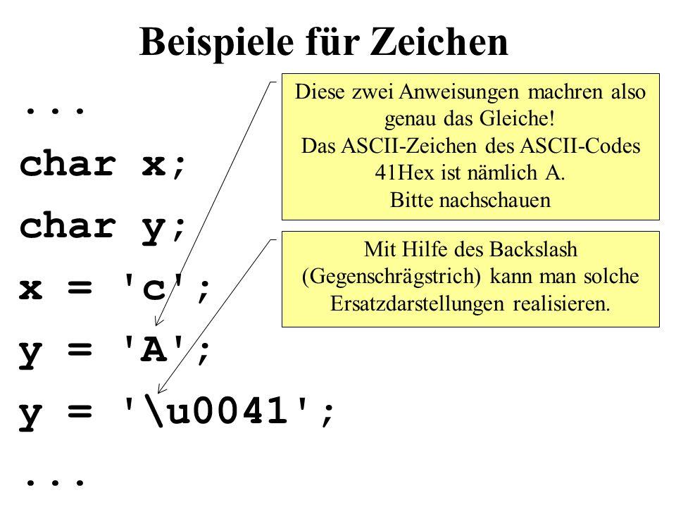 Beispiele für Zeichen...char x; char y; x = c ; y = A ; y = \u0041 ;...