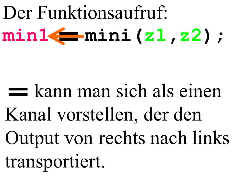Der Funktionsaufruf: min1 mini(z1,z2); kann man sich als einen Kanal vorstellen, der den Output von rechts nach links transportiert.