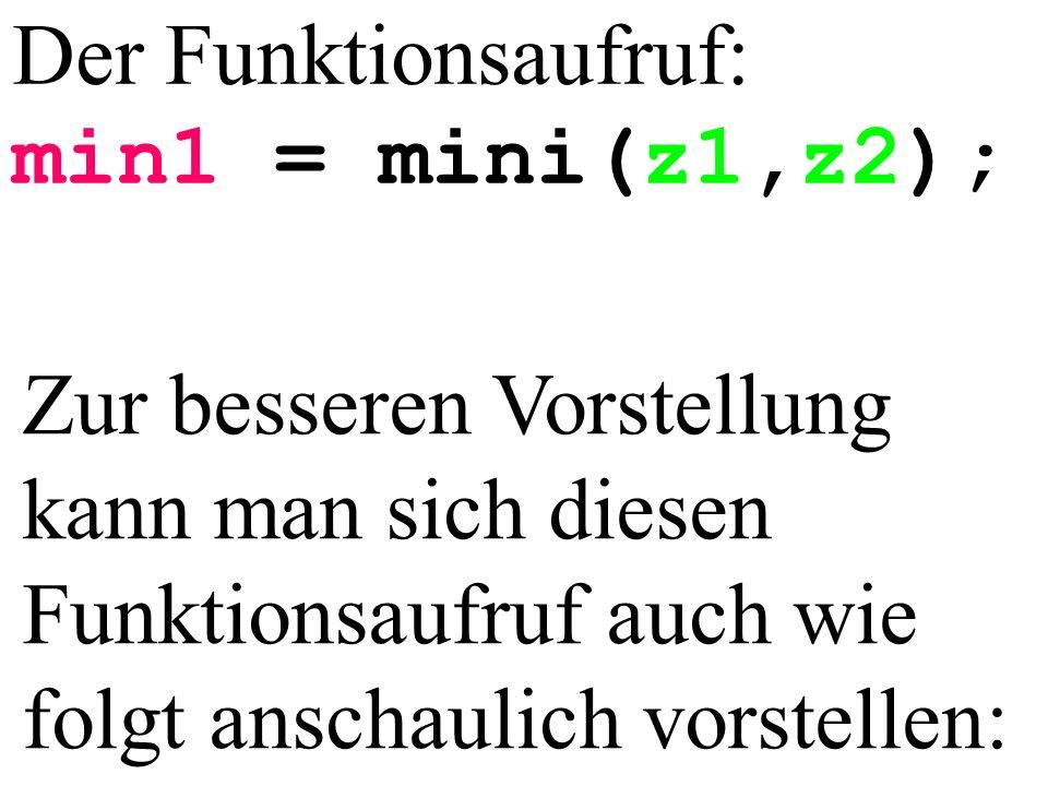 Der Funktionsaufruf: min1 = mini(z1,z2); Zur besseren Vorstellung kann man sich diesen Funktionsaufruf auch wie folgt anschaulich vorstellen: