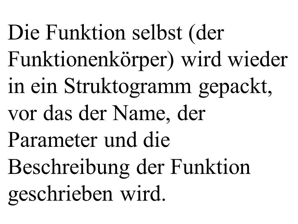 Die Funktion selbst (der Funktionenkörper) wird wieder in ein Struktogramm gepackt, vor das der Name, der Parameter und die Beschreibung der Funktion geschrieben wird.