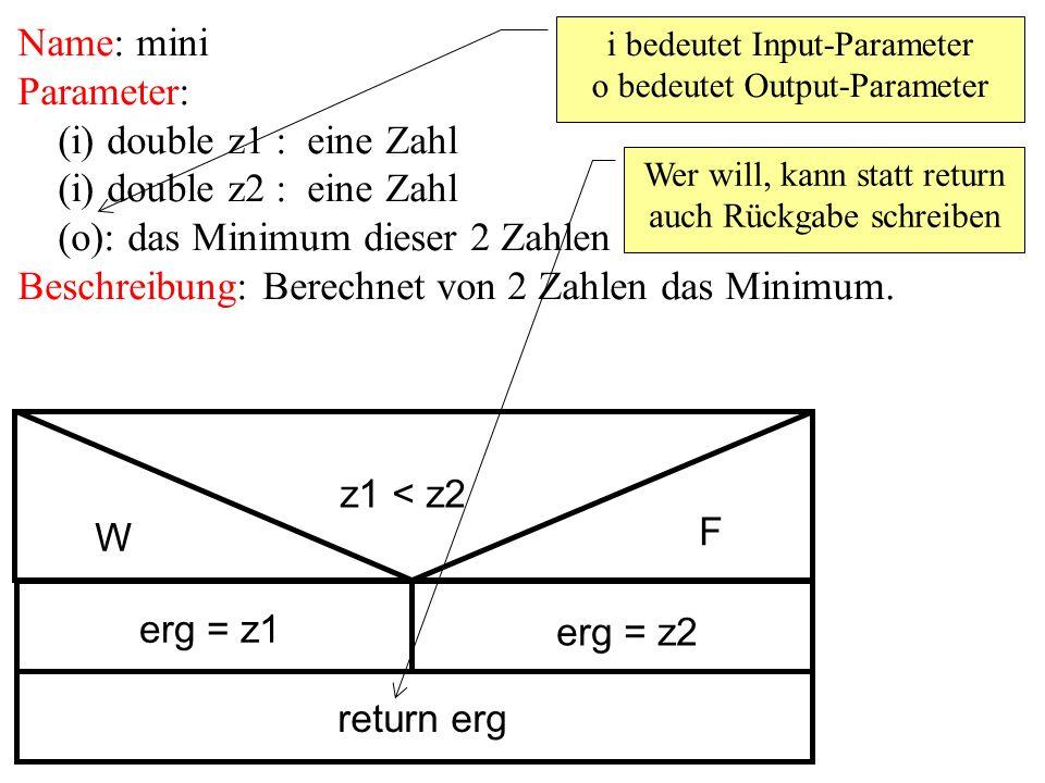 Name: mini Parameter: (i) double z1 : eine Zahl (i) double z2 : eine Zahl (o): das Minimum dieser 2 Zahlen Beschreibung: Berechnet von 2 Zahlen das Mi