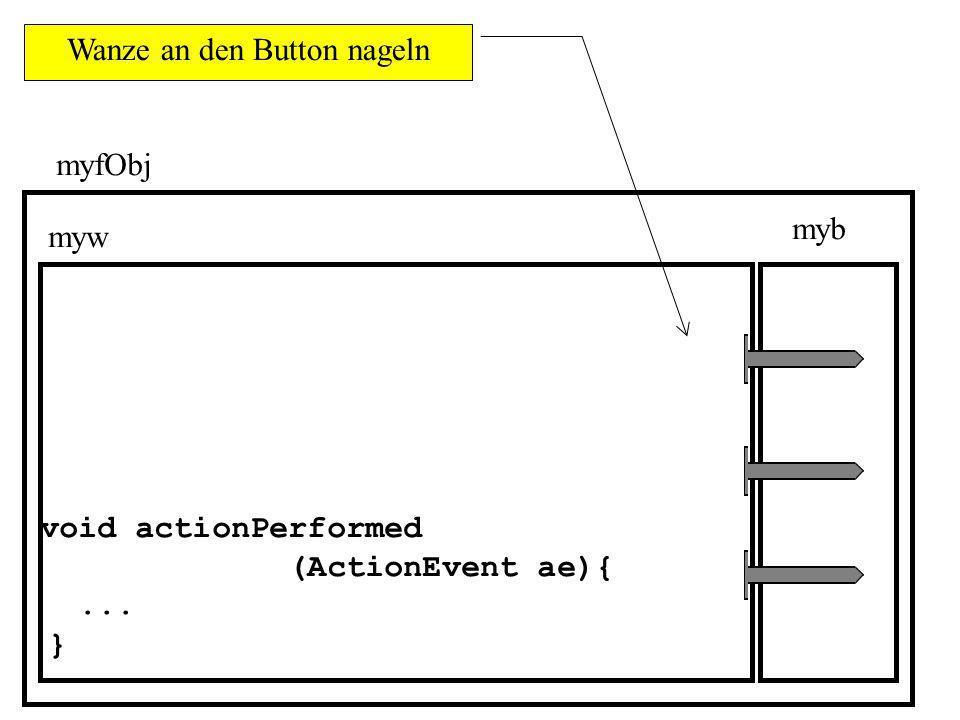 class MyFenster extends JFrame { private Container mycont; private JPanel mypan; private JButton myb; private MyWanze myw; public MyFenster() { mycont = getContentPane(); mypan = new JPanel(); myb = new JButton( Bitte klicke mich ); myw = new MyWanze(this); Variablen (Objekte) deklarieren Speicher für die eben deklarierten Variablen reservieren mit this wird das durch den Aufruf des Konstruktors MyFenster soeben erzeugte Objekt der Klasse MyFenster bezeichnet.