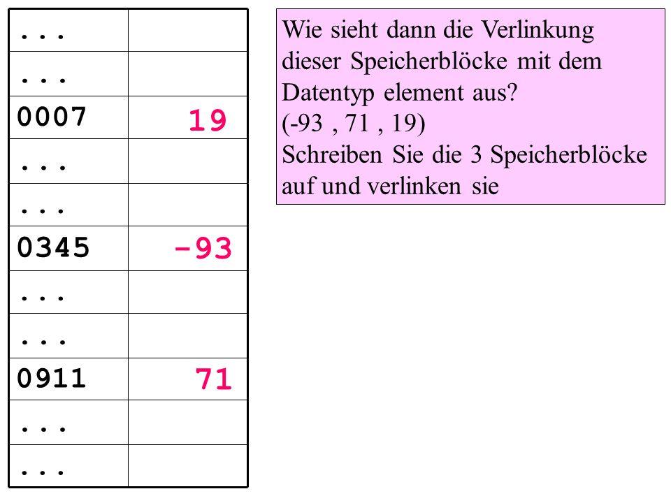 Wie sieht dann die Verlinkung dieser Speicherblöcke mit dem Datentyp element aus.