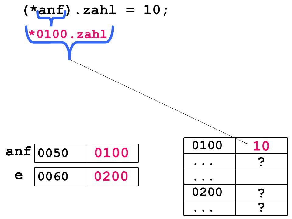 0100 0200 e 0050 0060 (*anf).zahl = 10;... 0200... 0100 10 0100*.zahl anf