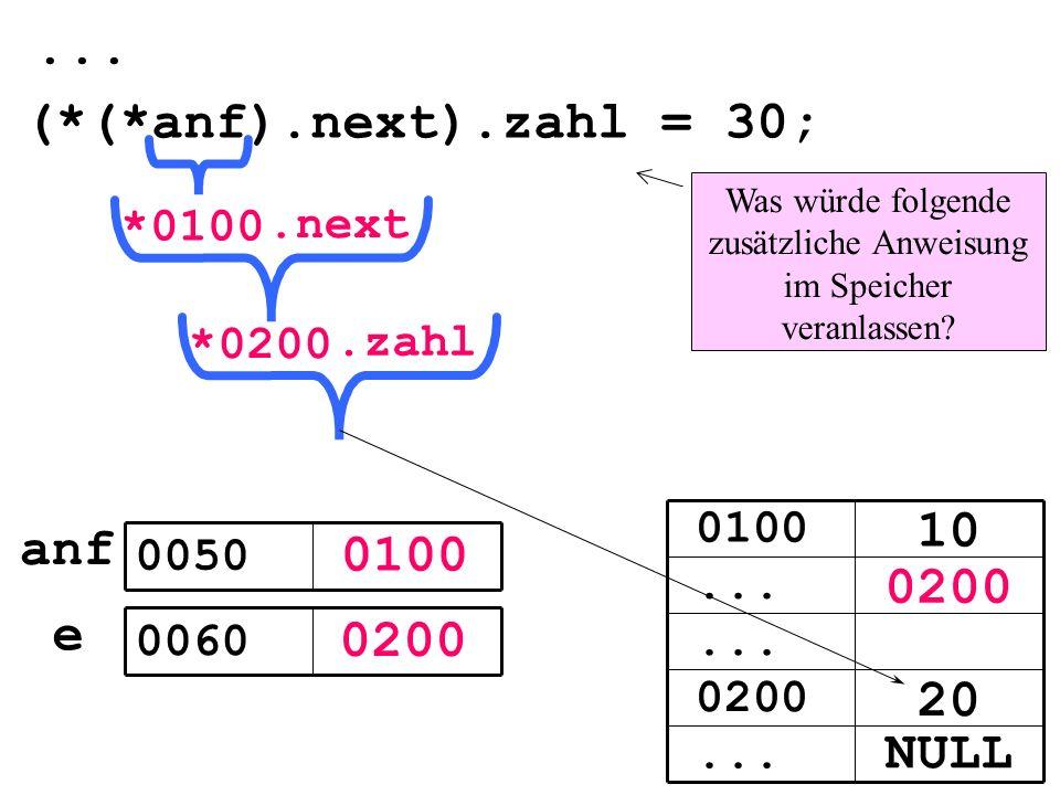 0100 0200 e 0050 0060 (*(*anf).next).zahl = 30;...