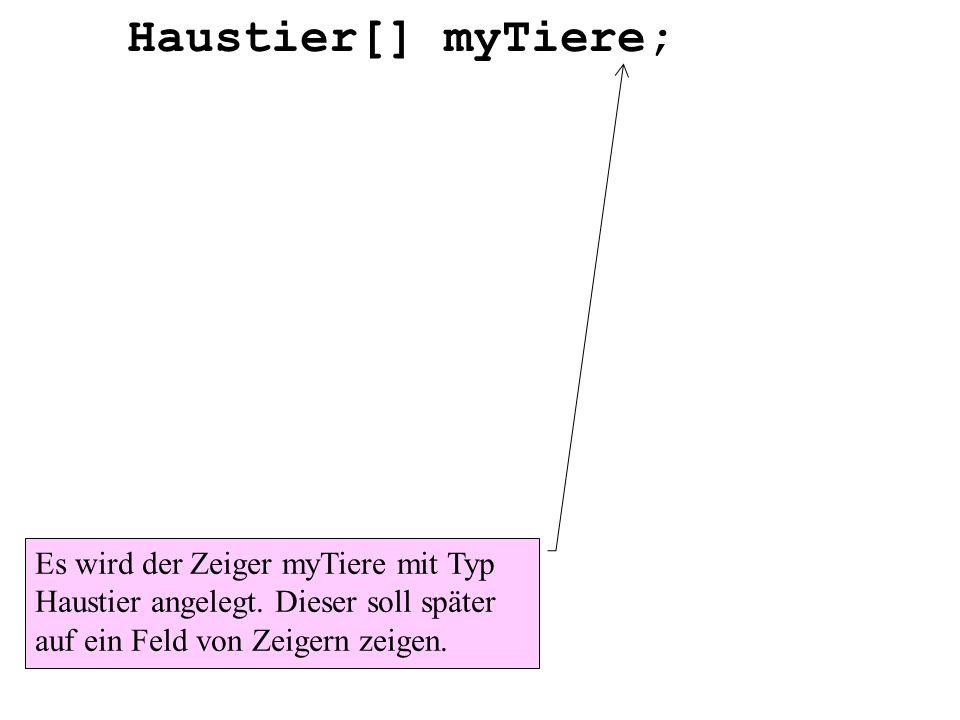 Haustier[] myTiere; Es wird der Zeiger myTiere mit Typ Haustier angelegt. Dieser soll später auf ein Feld von Zeigern zeigen.