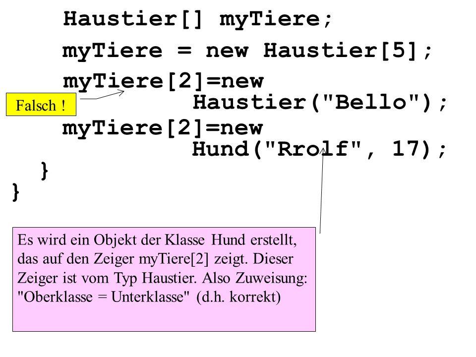 Haustier[] myTiere; Es wird ein Objekt der Klasse Hund erstellt, das auf den Zeiger myTiere[2] zeigt. Dieser Zeiger ist vom Typ Haustier. Also Zuweisu