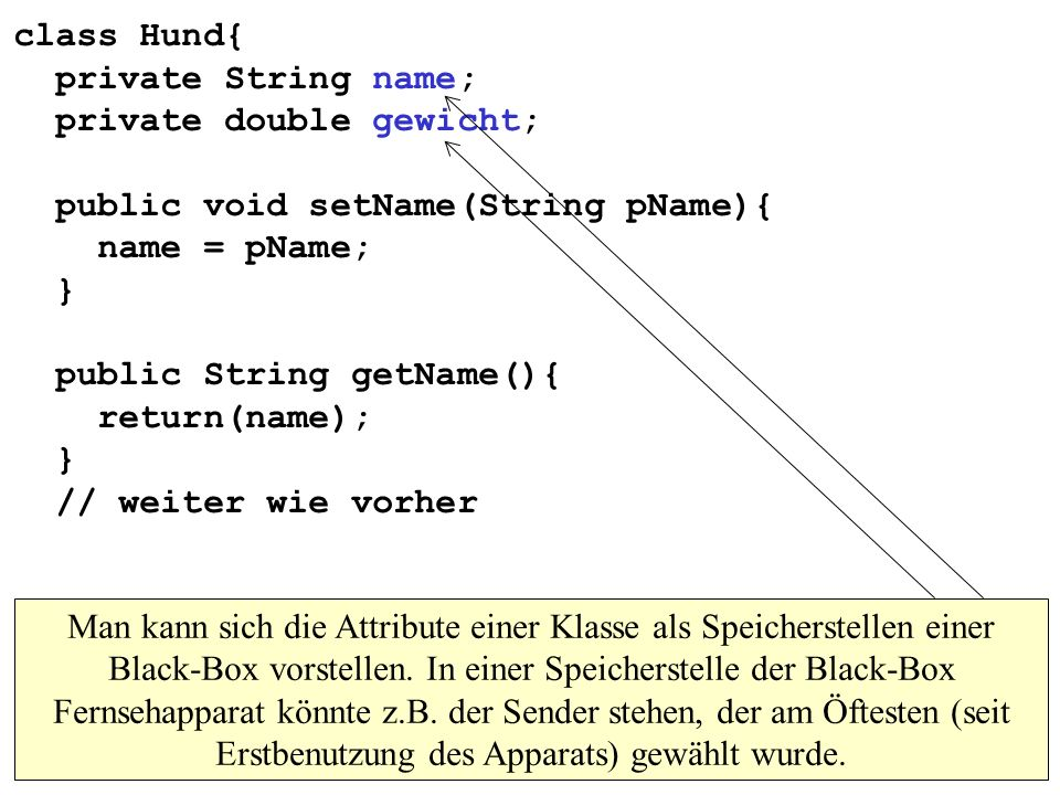 class Hund{ private String name; private double gewicht; public void setName(String pName){ name = pName; } public String getName(){ return(name); } /