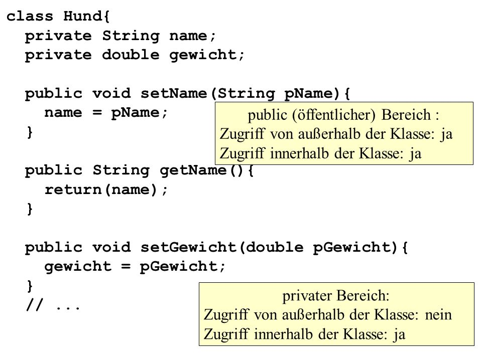 class Hund{ private String name; private double gewicht; public void setName(String pName){ name = pName; } public String getName(){ return(name); } p