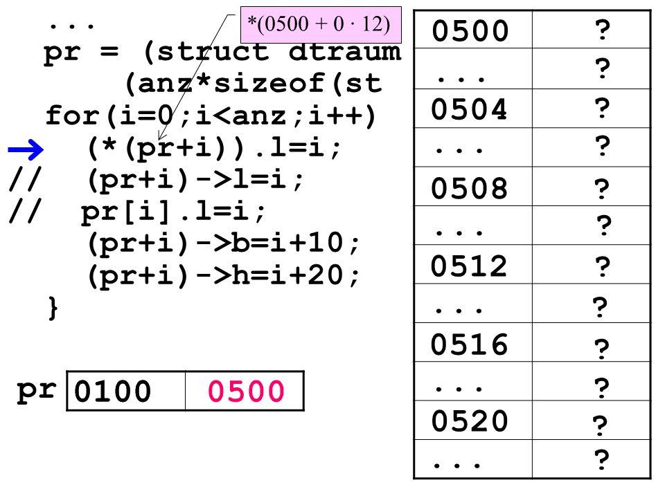 ... pr = (struct dtraum (anz*sizeof(st for(i=0;i<anz;i++) (*(pr+i)).l=i; // (pr+i)->l=i; // pr[i].l=i; (pr+i)->b=i+10; (pr+i)->h=i+20; } ? ? 0504... ?