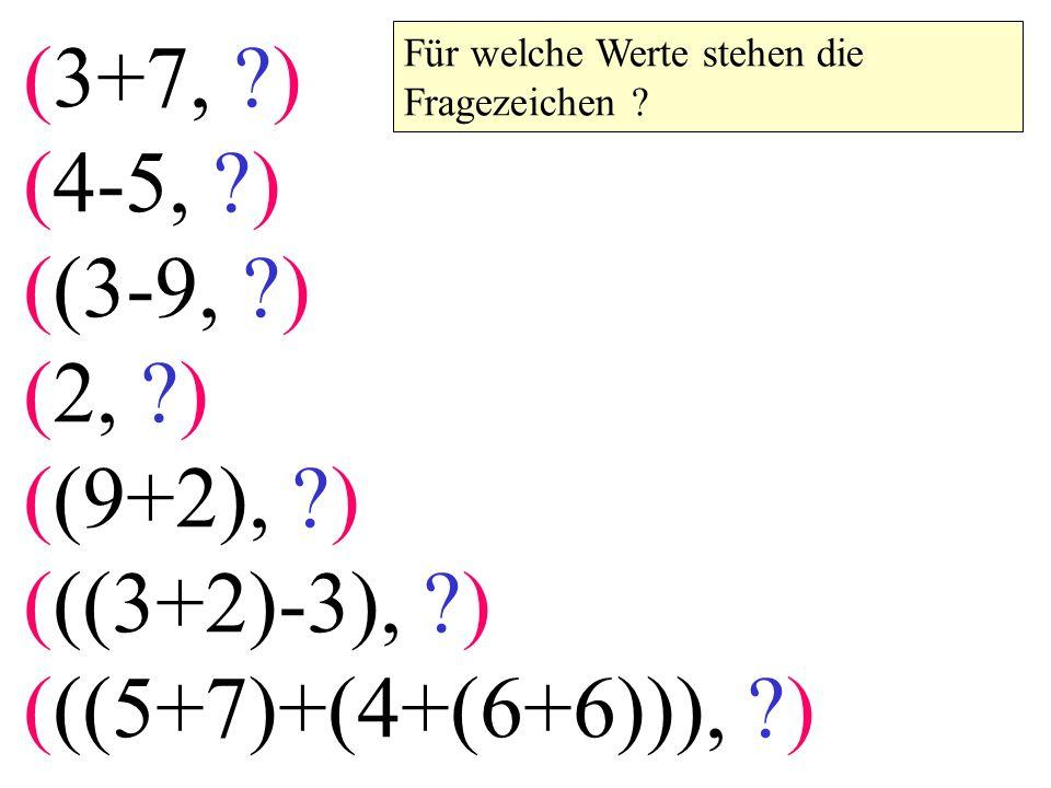 (3+7, ?) (4-5, ?) ((3-9, ?) (2, ?) ((9+2), ?) (((3+2)-3), ?) (((5+7)+(4+(6+6))), ?) Für welche Werte stehen die Fragezeichen ?