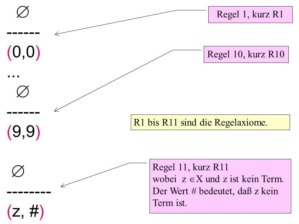 ------ (0,0)... ------ (9,9) -------- (z, #) Regel 1, kurz R1 Regel 10, kurz R10 Regel 11, kurz R11 wobei z X und z ist kein Term. Der Wert # bedeutet