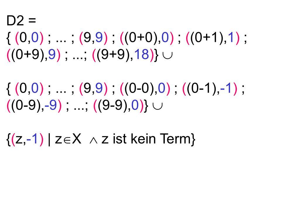 D2 = { (0,0) ;...; (9,9) ; ((0+0),0) ; ((0+1),1) ; ((0+9),9) ;...; ((9+9),18)} { (0,0) ;...