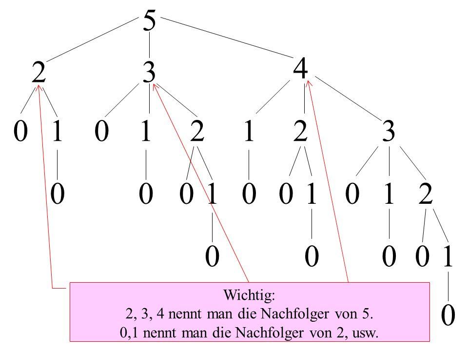 5 23 4 01012123 0001001012 00001 0 Wichtig: 2, 3, 4 nennt man die Nachfolger von 5. 0,1 nennt man die Nachfolger von 2, usw.