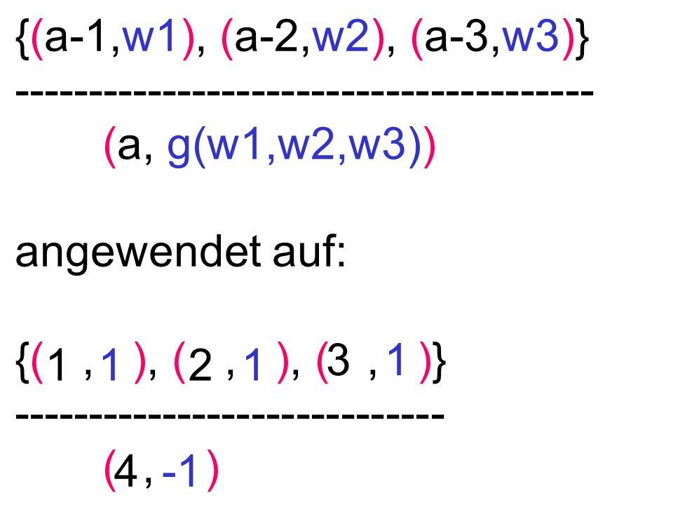 {(a-1,w1), (a-2,w2), (a-3,w3)} --------------------------------------- (a, g(w1,w2,w3)) angewendet auf: {(, ), (, ), (, )} ---------------------------