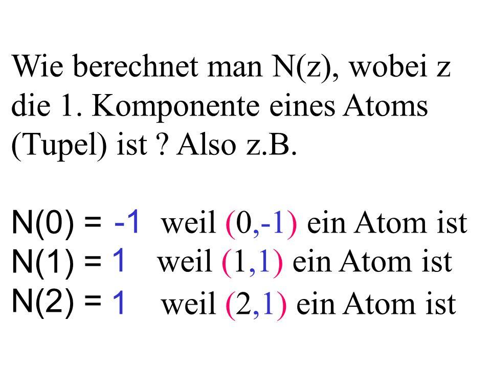 Wie berechnet man N(z), wobei z die 1. Komponente eines Atoms (Tupel) ist ? Also z.B. N(0) = N(1) = N(2) = 1 1 weil (0,-1) ein Atom ist weil (1,1) ein