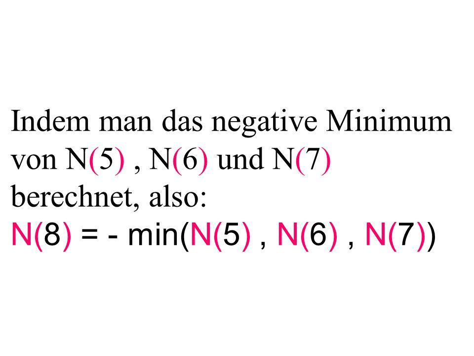 Indem man das negative Minimum von N(5), N(6) und N(7) berechnet, also: N(8) = - min(N(5), N(6), N(7))