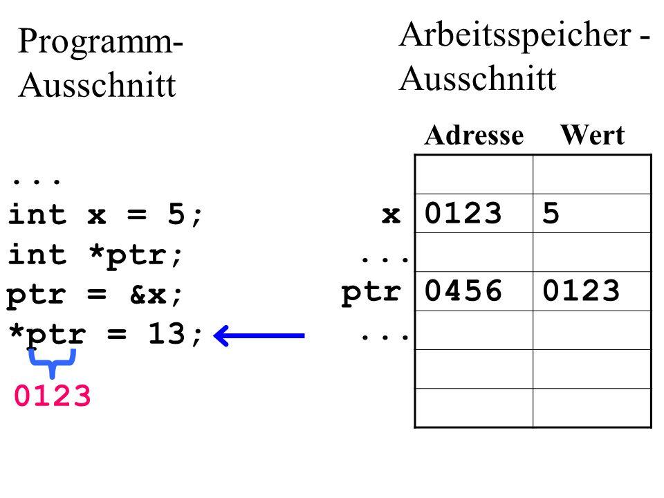 ...int x = 5; int *ptr; ptr = &x; *ptr = 13; 012313x...