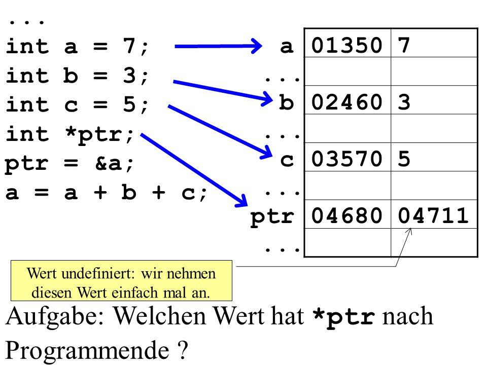 ...int a = 7; int b = 3; int c = 5; int *ptr; ptr = &a; a = a + b + c; 013507a...