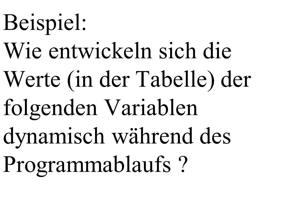 Beispiel: Wie entwickeln sich die Werte (in der Tabelle) der folgenden Variablen dynamisch während des Programmablaufs