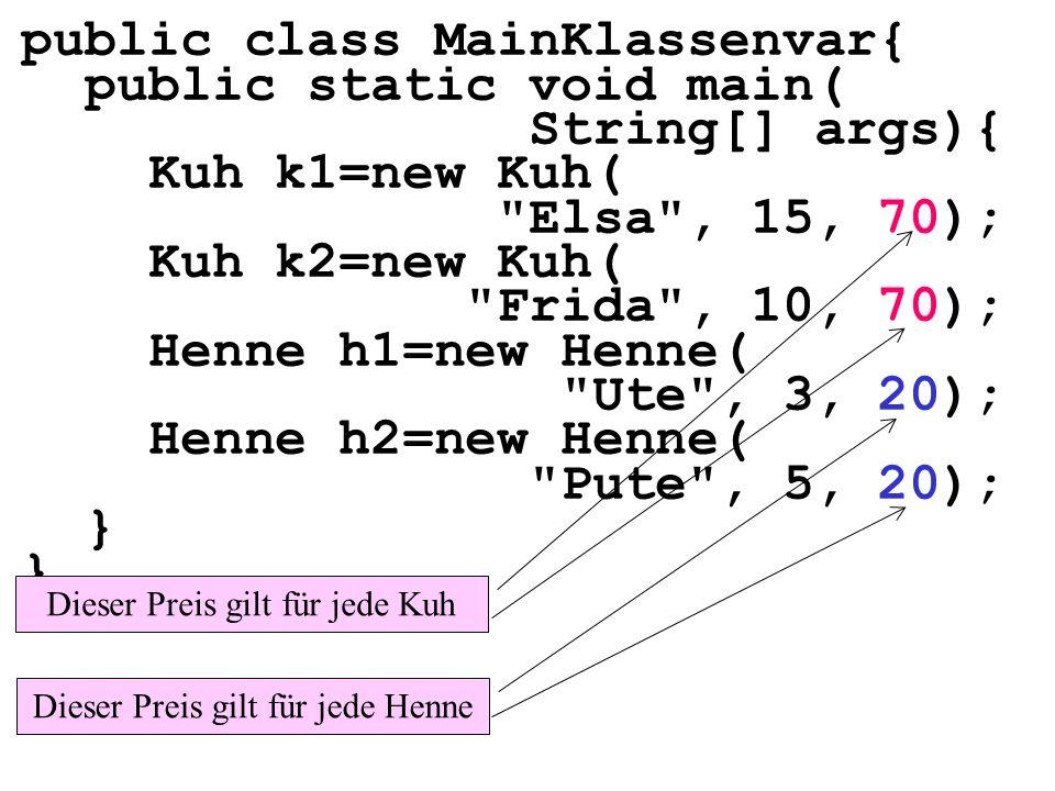 package hennennummerieren1; public class Startklasse{ public static void main(...){ Henne h; for(int i=0;i<10;i++){ h = new Henne( Henne +i); aus( nummer= +h.getNummer()); } aus( anz= +Henne.getAnzahl()); Henne h1=new Henne( Ute ); Henne h2=new Henne( Heike ); aus( nrh1= +h1.getNummer()); aus( nrh2= +h2.getNummer()); } Auf welche Hennen kann man am Ende der Schleife zugreifen?