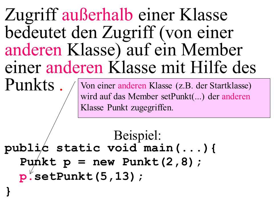 Zugriff außerhalb einer Klasse bedeutet den Zugriff (von einer anderen Klasse) auf ein Member einer anderen Klasse mit Hilfe des Punkts. Beispiel: pub
