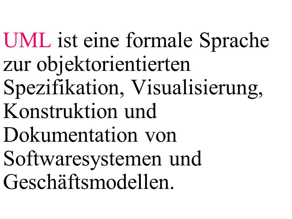 UML ist eine formale Sprache zur objektorientierten Spezifikation, Visualisierung, Konstruktion und Dokumentation von Softwaresystemen und Geschäftsmodellen.
