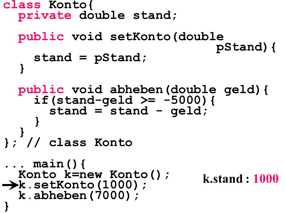 class Konto{ private double stand; public void setKonto(double pStand){ stand = pStand; } public void abheben(double geld){ if(stand-geld >= -5000){ s