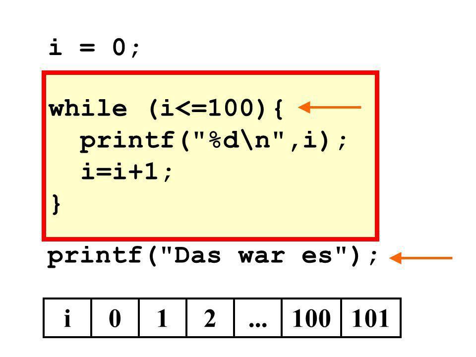 while (i<=100){ printf(