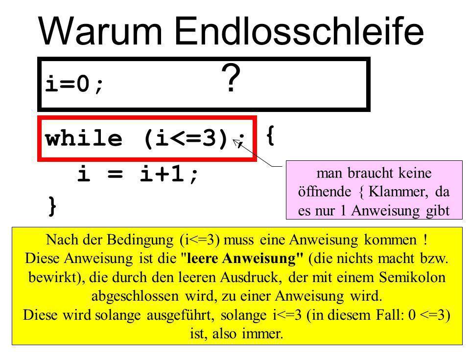 Warum Endlosschleife ? i=0; i = i+1; } while (i<=3); Nach der Bedingung (i<=3) muss eine Anweisung kommen ! Diese Anweisung ist die