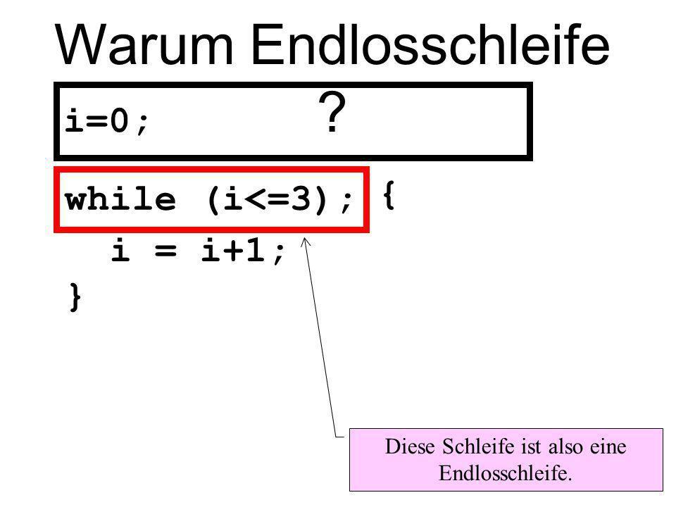 Das heißt while (i<=3); while (i<=3) ; wird vom Compiler wie folgt interpretiert: