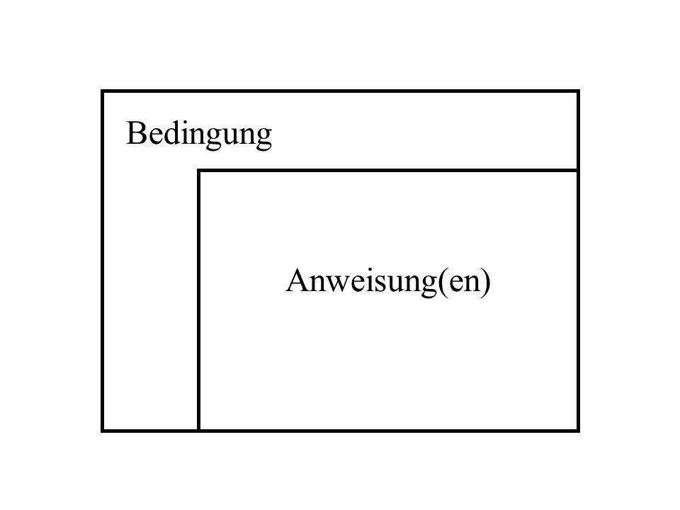i = 0; while (i<=100){ printf( %d\n ,i); i=i+1; } printf( Das war es ); AUFGABE : Stellen Sie den Programmteil unten als Struktogramm dar