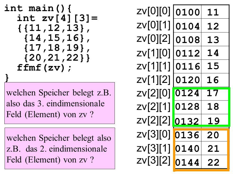 int main(){ int zv[4][3]= {{11,12,13}, {14,15,16}, {17,18,19}, {20,21,22}} ffmf(zv); } 010011 zv[0][0] 010412 0108 0112 14 15 16 17 18 19 20 21 22 13 0116 0120 0124 0128 0132 0136 0140 0144 zv[0][1] zv[0][2] zv[1][0] zv[1][1] zv[1][2] zv[2][0] zv[2][1] zv[2][2] zv[3][0] zv[3][1] zv[3][2] welchen Speicher belegt z.B.