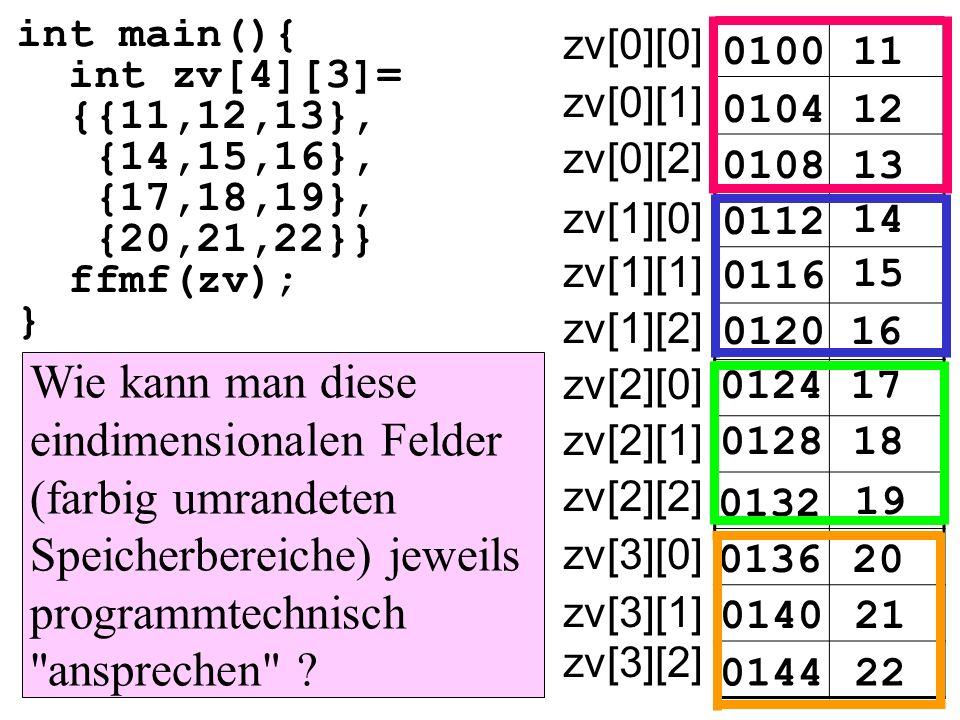 int main(){ int zv[4][3]= {{11,12,13}, {14,15,16}, {17,18,19}, {20,21,22}} ffmf(zv); } 010011 zv[0][0] 010412 0108 0112 14 15 16 17 18 19 20 21 22 13 0116 0120 0124 0128 0132 0136 0140 0144 zv[0][1] zv[0][2] zv[1][0] zv[1][1] zv[1][2] zv[2][0] zv[2][1] zv[2][2] zv[3][0] zv[3][1] zv[3][2] Wie kann man diese eindimensionalen Felder (farbig umrandeten Speicherbereiche) jeweils programmtechnisch ansprechen