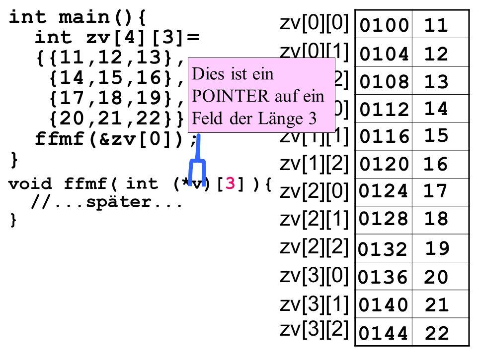 int main(){ int zv[4][3]= {{11,12,13}, {14,15,16}, {17,18,19}, {20,21,22}} ffmf(&zv[0]); } 010011 zv[0][0] 010412 0108 0112 14 15 16 17 18 19 20 21 22 13 0116 0120 0124 0128 0132 0136 0140 0144 zv[0][1] zv[0][2] zv[1][0] zv[1][1] zv[1][2] zv[2][0] zv[2][1] zv[2][2] zv[3][0] zv[3][1] zv[3][2] void ffmf( ){ //...später...
