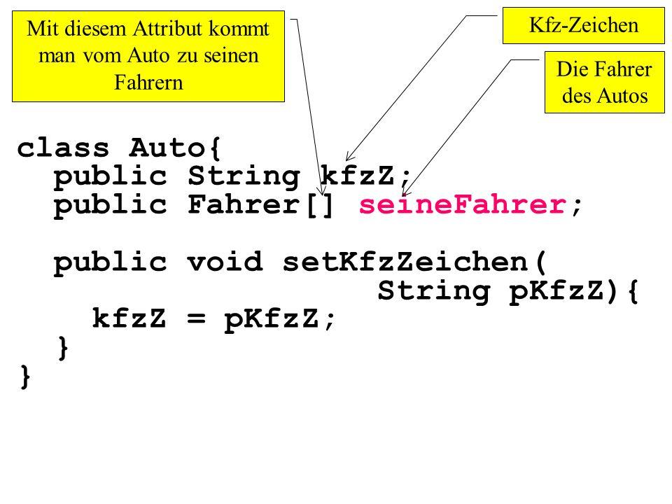 class Auto{ public String kfzZ; public Fahrer[] seineFahrer; public void setKfzZeichen( String pKfzZ){ kfzZ = pKfzZ; } Mit diesem Attribut kommt man v